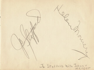 JO STAFFORD - AUTOGRAPH CO-SIGNED BY: JUNE HUTTON