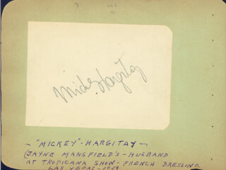 MICKEY HARGITAY - AUTOGRAPH CIRCA 1959 CO-SIGNED BY: ART LINKLETTER