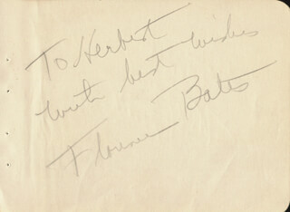 FLORENCE BATES - AUTOGRAPH NOTE SIGNED