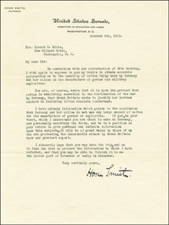 HOKE SMITH - TYPED LETTER SIGNED 10/06/1915