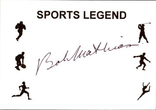 BOB MATHIAS - PRINTED CARD SIGNED IN INK