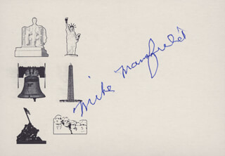 MIKE MANSFIELD - PRINTED CARD SIGNED IN INK