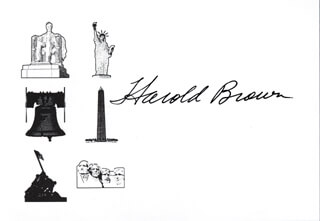 Autographs: HAROLD BROWN - PRINTED CARD SIGNED IN INK