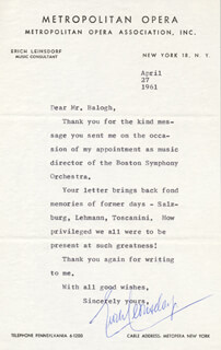 ERICH LEINSDORF - TYPED LETTER SIGNED 04/27/1961