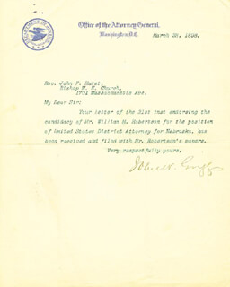 JOHN W. GRIGGS - TYPED LETTER SIGNED 03/23/1898