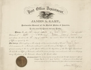Autographs: JAMES A. GARY - CIVIL APPOINTMENT SIGNED 10/01/1897