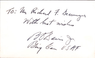 GENERAL BENJAMIN O. DAVIS JR. - AUTOGRAPH NOTE SIGNED