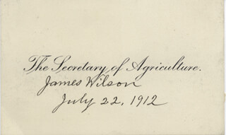 Autographs: JAMES WILSON - CALLING CARD SIGNED 07/22/1912
