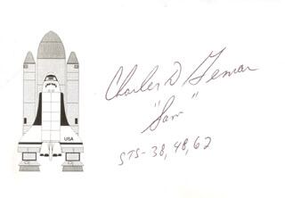 Autographs: LT. COLONEL CHARLES D. SAM GEMAR - PRINTED CARD SIGNED IN INK