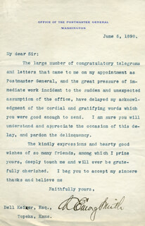 CHARLES EMORY SMITH - TYPED LETTER SIGNED 06/06/1898