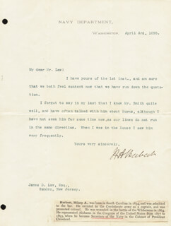 HILARY A. HERBERT - TYPED LETTER SIGNED 04/03/1895