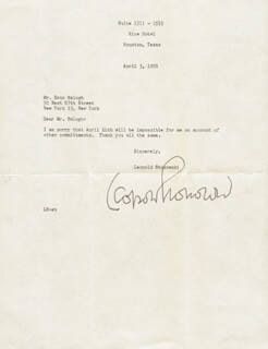 LEOPOLD STOKOWSKI - TYPED LETTER SIGNED 04/03/1956