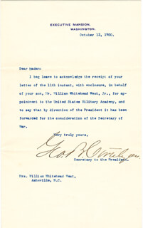 Autographs: GEORGE B. CORTELYOU - TYPED LETTER SIGNED 10/12/1900