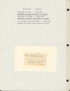 ELIHU ROOT - TYPED SENTIMENT SIGNED