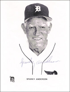Autographs: SPARKY ANDERSON - PRINTED PHOTOGRAPH SIGNED IN INK