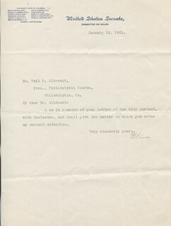 PHILANDER C. KNOX - TYPED NOTE SIGNED 01/19/1921