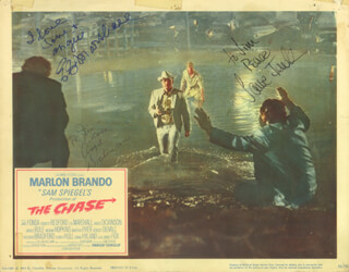Autographs: THE CHASE MOVIE CAST - INSCRIBED LOBBY CARD SIGNED CO-SIGNED BY: ANGIE DICKINSON, JANE FONDA, E.G. MARSHALL