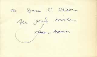 JAMES MASON - AUTOGRAPH NOTE SIGNED