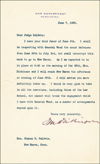 Autographs: JACOB M. DICKINSON - TYPED LETTER SIGNED 06/07/1909 CO-SIGNED BY: GOVERNOR SIMEON E. BALDWIN