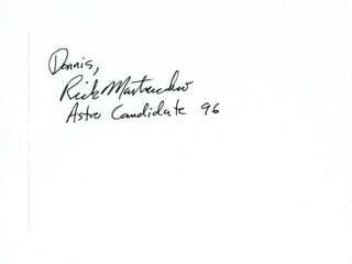 Autographs: RICK MASTRACCHIO - INSCRIBED CARD SIGNED