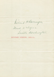 Autographs: RICHARD A. BALLINGER - SIGNATURE(S) 03/02/1922