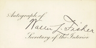 WALTER L. FISHER - PRINTED CARD SIGNED IN INK