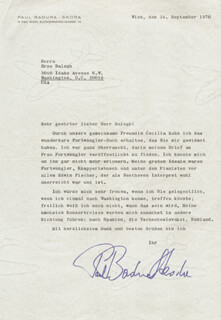 Autographs: PAUL BADURA-SKODA - TYPED LETTER SIGNED 09/24/1970