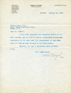 CHARLES NAGEL - TYPED LETTER SIGNED 01/28/1918