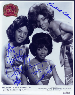 MARTHA REEVES & THE VANDELLAS - PRINTED PHOTOGRAPH SIGNED IN INK 2003 CO-SIGNED BY: MARTHA REEVES & THE VANDELLAS (MARTHA REEVES), MARTHA REEVES & THE VANDELLAS (ANNETTE BEARD), MARTHA REEVES & THE VANDELLAS (ROSALIND ASHFORD)