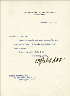 Autographs: WILLIAM G. McADOO - TYPED LETTER SIGNED 12/10/1918