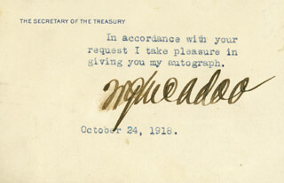 WILLIAM G. McADOO - TYPED NOTE SIGNED 10/24/1918