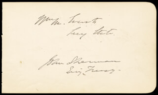 Autographs: JOHN SHERMAN - COLLECTION WITH CHARLES DEVENS, GEORGE W. McCRARY, MAJOR GENERAL CARL SCHURZ, RICHARD W. THOMPSON, WILLIAM M. EVARTS, DAVID M. KEY