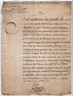 KING SUN KING LOUIS XIV (FRANCE) - DOCUMENT SIGNED 10/11/1674