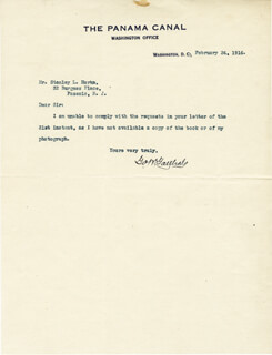 Autographs: MAJOR GENERAL GEORGE W. GOETHALS - TYPED LETTER SIGNED 02/24/1916