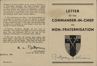 Autographs: FIELD MARSHAL MONTGOMERY OF ALAMEIN (BERNARD MONTGOMERY) - PAMPHLET SIGNED CIRCA 1945