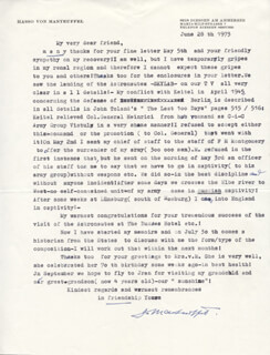 GENERAL HASSO VON MANTEUFFEL - TYPED LETTER SIGNED 06/28/1973