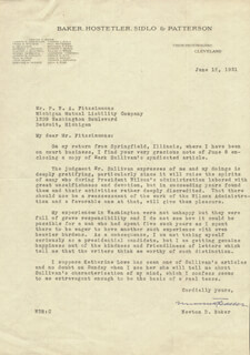 Autographs: NEWTON D. BAKER - TYPED LETTER SIGNED 06/12/1931