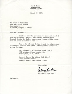 GENERAL IRA C. EAKER - TYPED LETTER SIGNED 03/22/1974