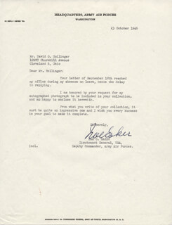 GENERAL IRA C. EAKER - TYPED LETTER SIGNED 10/23/1946