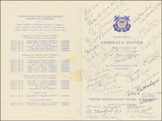 VICE ADMIRAL CHARLES E. ROSENDAHL - MENU/PROGRAM SIGNED CIRCA 1944 CO-SIGNED BY: ADMIRAL RUSSELL R. WAESCHE, REAR ADMIRAL M. F. DRAEMEL, COMMODORE G. H. MILLS, CAPTAIN W. L. BECK, CAPTAIN F. C. SACHSE, ALLEN K. BROUWER, CAPTAIN DOROTHY C. STRATTON, A. P. CLOTHIER, CAPTAIN CHESTER A. JONES, DONALD J. APPLEGATE, REAR ADMIRAL ROBERT DONOHUE, COMMODORE VICTOR LAZO, REAR ADMIRAL LLOYD T. CHALKER, REAR ADMIRAL FRANK J. GORMAN, LT. COMMANDER JAMES H. KIMBERLY, COMMANDER A. J. PEASLEE, T. W. MONTAGUE