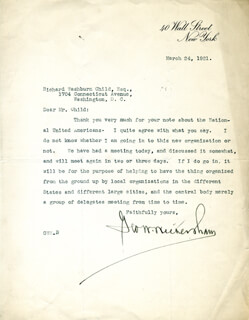 Autographs: GEORGE W. WICKERSHAM - TYPED LETTER SIGNED 03/24/1921