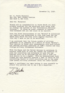 MAJOR GENERAL LEIGH WADE - TYPED LETTER SIGNED 11/12/1958
