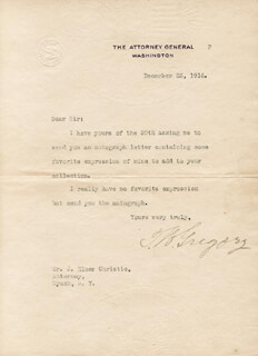 THOMAS W. GREGORY - TYPED LETTER SIGNED 12/23/1916