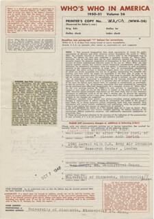 Autographs: JEAN F. PICCARD - DOCUMENT UNSIGNED CIRCA 1948