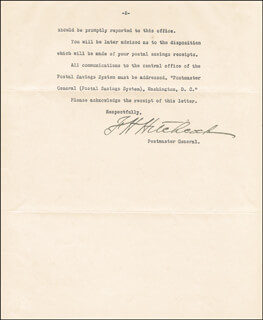 Autographs: FRANK H. HITCHCOCK - TYPED LETTER SIGNED 08/12/1911