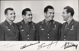 COLONEL YURI GAGARIN - AUTOGRAPHED SIGNED PHOTOGRAPH CO-SIGNED BY: MAJOR GENERAL PAVEL POPOVICH, MAJOR GENERAL ANDRIAN NIKOLAYEV, GENERAL GHERMAN TITOV