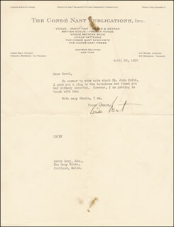 CONDE NAST - TYPED LETTER SIGNED 04/24/1928