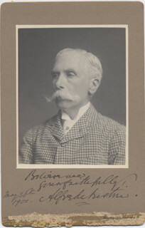 ALFRED AUSTIN - PHOTOGRAPH MOUNT SIGNED 05/30/1900