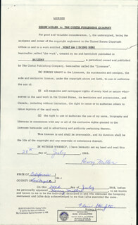 HENRY MILLER - DOCUMENT SIGNED 07/24/1968