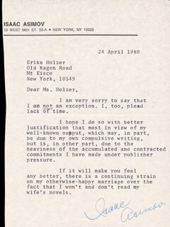 Autographs: ISAAC ASIMOV - TYPED LETTER SIGNED 04/24/1980